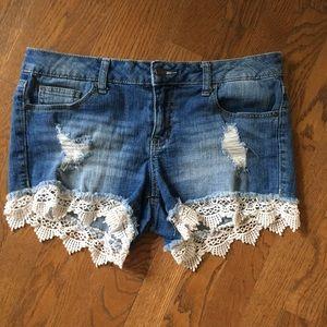 Altar'd State denim shorts destroyed lace 29